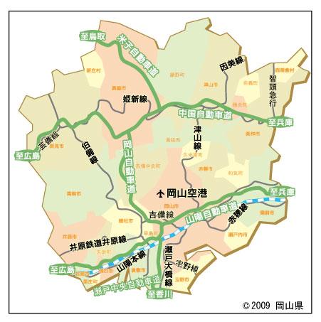 岡山県津山市の地図